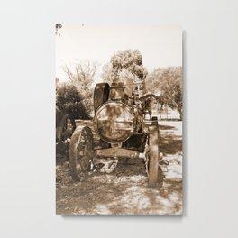 Vintage Steam Engine Sepia Metal Print