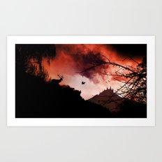Dramatic cloudy scenery Art Print
