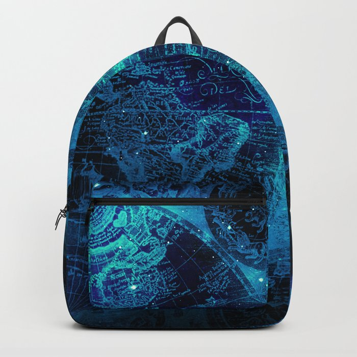 Antique World Star Map in Space Navy Blue Backpack