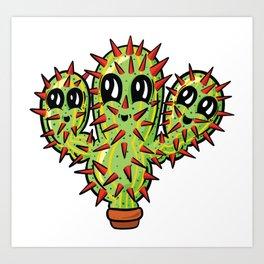 Prickly Joe - Happy Prickly Cactus Succulent Plant Cartoon Art Print