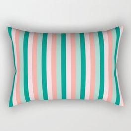 Soft Pink , Peach Amber, Yucca and Arbor Green Pinstripes Rectangular Pillow
