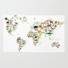 Cartoon animal world map for children and kids, Animals from all over the world on white background Rug