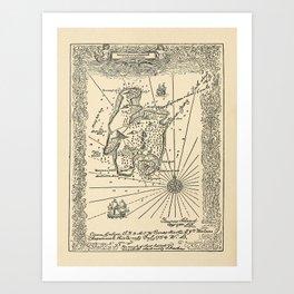Vintage Treasure Island Pirate Map (1915) Art Print