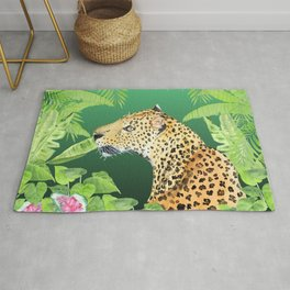 Leopard in Jungle, Greens Background Rug