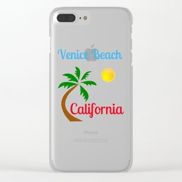 Venice Beach California Palm Tree and Sun Clear iPhone Case