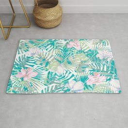 Tropical pink jade green turquoise monstera leaves pattern Rug