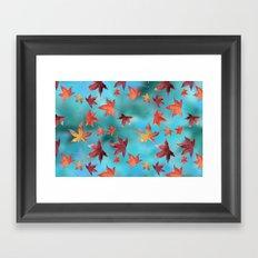 Dead Leaves over Cyan Framed Art Print