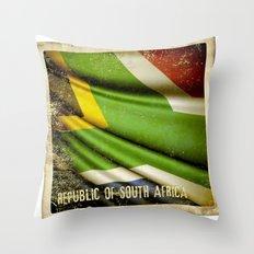 South Africa grunge sticker flag Throw Pillow