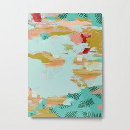 Seafoam Fern Collage Metal Print