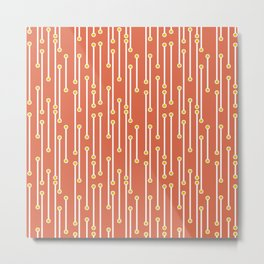 Dotted Lines in Coral, White and Mustard Metal Print