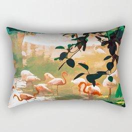 Flamingo Sighting #painting #wildlife Rectangular Pillow
