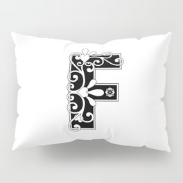 Letter F Elegant Scroll Initial Pillow Sham
