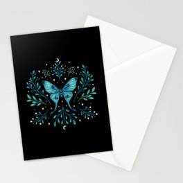 Mystical Luna Moth - Turquoise Stationery Cards
