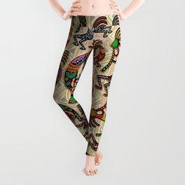 Kokopelli Rainbow Colors on Tribal Pattern  Leggings
