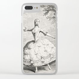 The Dancers, 18th century French ballet woman, black white drawing Clear iPhone Case