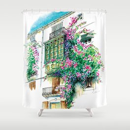Ibiza old town charming windows with Bougainvilleas Shower Curtain