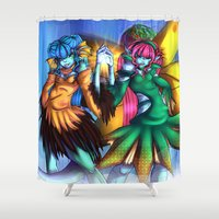 sister Shower Curtains featuring elementum sister by elfi1991