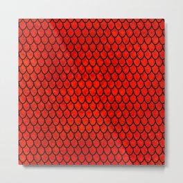 Mermaid Scales - Red Metal Print