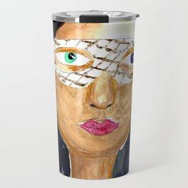 Girl with a Mask Travel Mug
