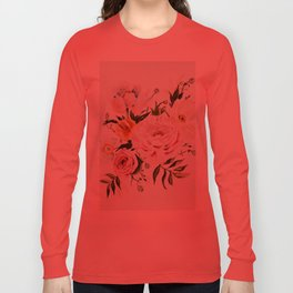 Loose Peonies & Poppies Floral Bouquet Long Sleeve T-shirt
