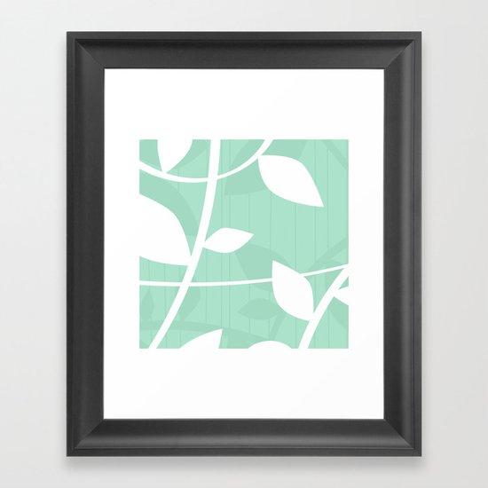 Vine pattern in Mint by Friztin Framed Art Print