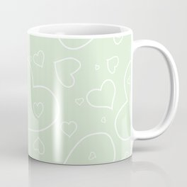 Palest Green and White Hand Drawn Hearts Pattern Coffee Mug
