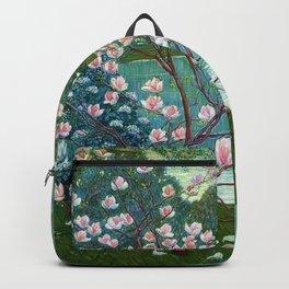 Springtime Pink Magnolias by the Kettle Pond landscape by Wilhelm List Backpack
