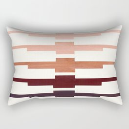 Mid Century Minimalist Ancient Aztec Inca Geometric Pattern Watercolor Raw Umber Colorful Gouache Pa Rectangular Pillow