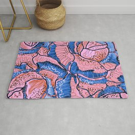 Blush Blue Roses Flowers Abstract Illustration Rug