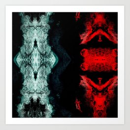 Black White Red Abstract Textured Pattern Art Print