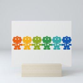 Rainbow Robots Holding Hands Mini Art Print