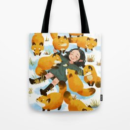 Snuggles with foxes Tote Bag