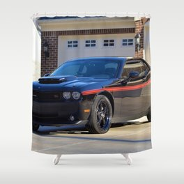 2010 MOPAR '10 Black Challenger Limited Edition Red Stripe Variation Shower Curtain