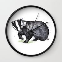 badger Wall Clocks featuring Badger by ZOO (William Redgrove)