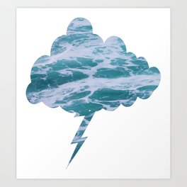 White Water Lightning Cloud  Art Print
