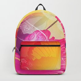 Awesome colorful flowers and butterfly Backpack