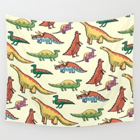 dinosaurs Wall Tapestries featuring DINOSAURS! by Sonny Ross