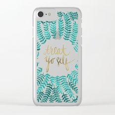 Treat Yo Self – Gold & Turquoise Clear iPhone Case