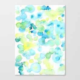 Green and Yellow Bubbly Bubbles Canvas Print