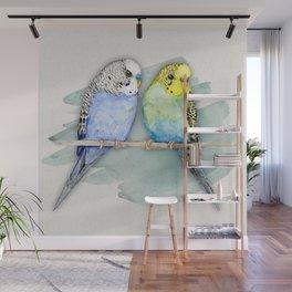 Two cute budgies watercolor Wall Mural