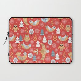 Fairy forest, deer, owls, foxes. Decorative pattern in Scandinavian style on a red background. Folk Laptop Sleeve