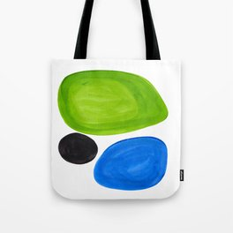 Mid Century Vintage Abstract Minimalist Colorful Pop Art Lime Green Phthalo Blue Black Bubbles Tote Bag