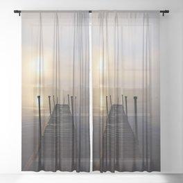 Soft Sunrise on a Misty Adirondack Morning Sheer Curtain