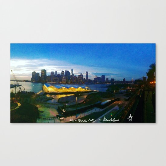 New York City as viewed from the Beautiful Brooklyn Heights Canvas Print