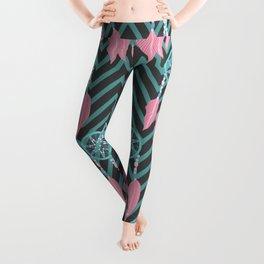 Bohemian Teal Pink Dreamcatcher Chevron Pattern Leggings
