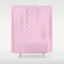 Light Pink Concentric Circle Pattern Shower Curtain