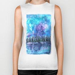 Watercolor Winter Pines under the Northern Lights Biker Tank