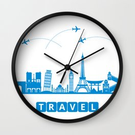 Travel concept with landmarks Wall Clock