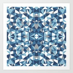 Abstract Collide Blues Art Print