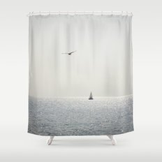 Fly over the sea Shower Curtain